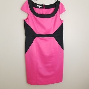 London Style Collection dress fitted pink black 18